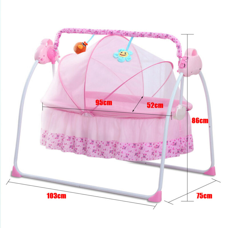 Bluetooth Electric Baby Crib Cradle Infant Rocker Auto-Swing Curtain Soft Bed US