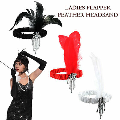 Women Vintage Feather Sequin Headband Flapper Great Gatsby 1920s Headwear