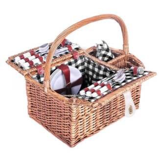 AUS FREE DEL-4 Person Family Picnic Basket Set with Blanket Black