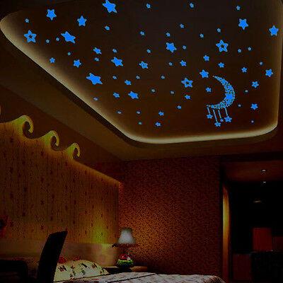 A Set 3D Stars Glow In The Dark Luminous Fluorescent Wall Stickers Kids Bedroom - Glow In The Dark Wall Decals