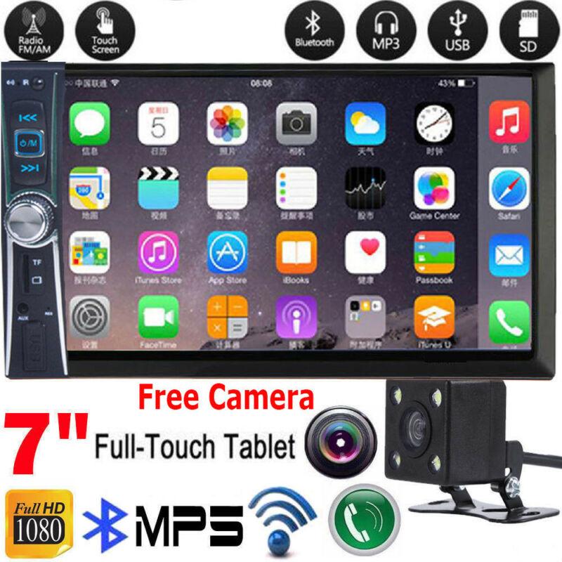 "1080P HD Bluetooth Car Stereo Radio 2 DIN 7"" HD MP5 FM Player Touch Screen"