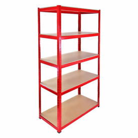 £42 HEAVY DUTY 265kg/shelf RED Storage shelves 180cm x 90cm x 40cm Metal Racking Garage delivery