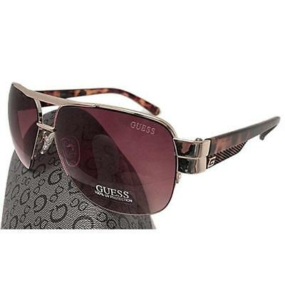 Guess GUF 126 GLD-34A Men's Aviator Sunglasses, Tortoise Gold Brown Lens
