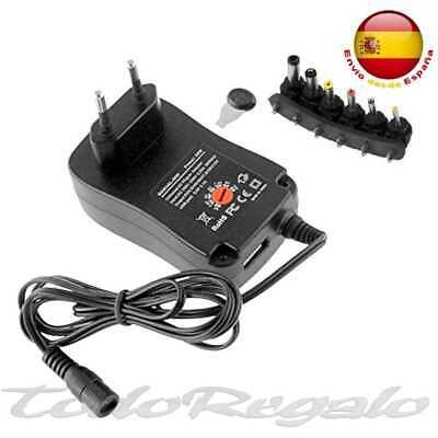 Cargador Adaptador Transformador 30W Regulable EU 2 Pin DC USB 3V-12V Negro