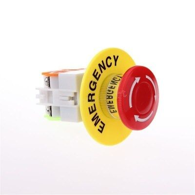 2pcs Red Mushroom Emergency Stop Push Button Switch No Nc 22mm Ac 660v 10a
