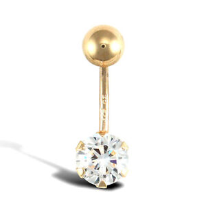 9ct Gold Belly Bar With Claw set CZ Solitaire, 10mm