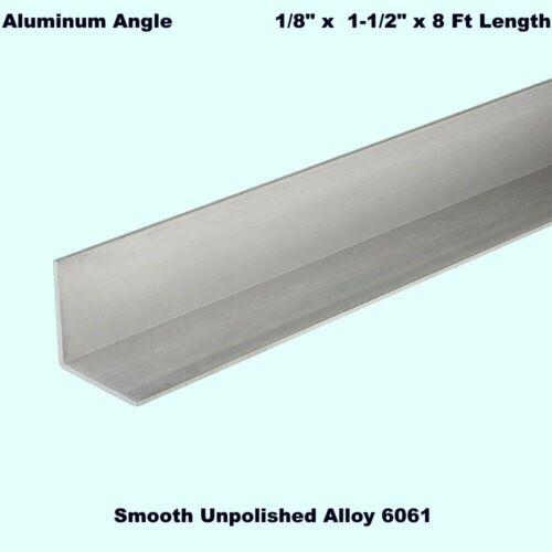 "ALUMINUM ANGLE  1/8"" x 1-1/2"" x 8 Ft Length  Unpolished Alloy 6061  90° Stock"