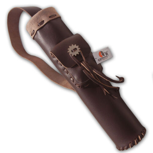 CAROL TRADITIONAL LEATHER BACK ARROW QUIVER AQ101 BROWN
