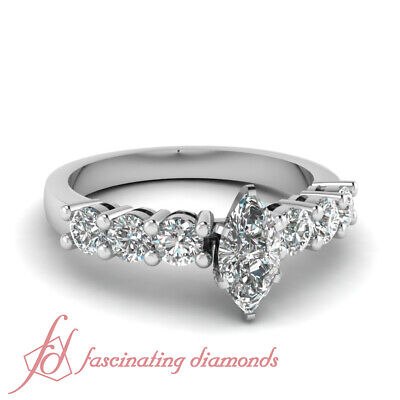 3/4 Carat Marquise Cut Diamond Round Accented Engagement Ring In White Gold GIA