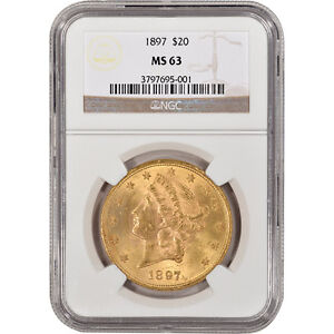1897 US Gold $20 Liberty Head Double Eagle - NGC MS63