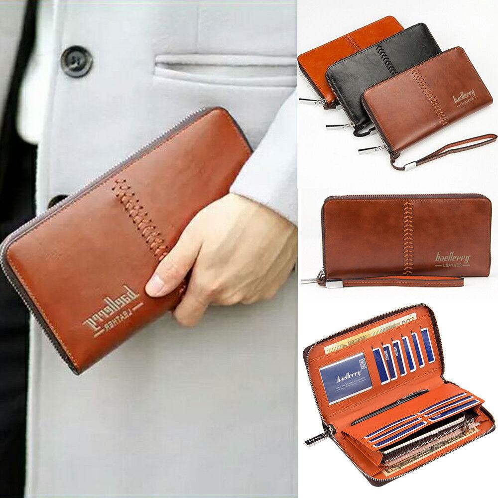 Men Leather Clutch Wallets Big Capacity Credit Crad Holders