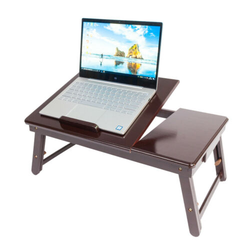 Lap Desk Wood Folding Tray Table Drawer Breakfast Bed Food L