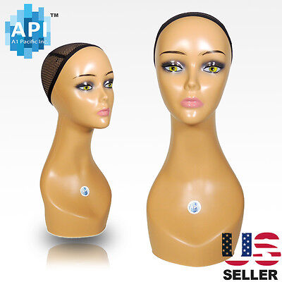 Realistic Plastic Female Mannequin Head Lifesize Display Wig Hat 18 C1