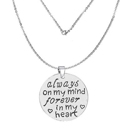 """""""Always on my mind forever in my heart"""" Memorial Necklace & Pendant for Your Los Fashion Jewelry"""