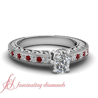 1.15 Ct Vintage Style Cushion Cut Diamond And Ruby Pave Set Engagement Ring GIA