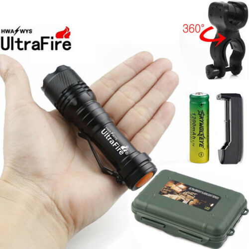 60000LM Q5 LED Flashlight Zoomable Torch Light AA 14500*Battery Bike Mount UK