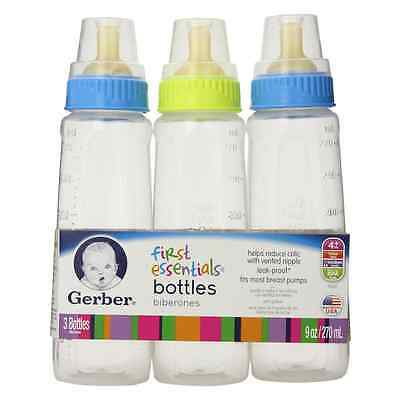 Gerber Nursers 9-Ounce Clear View 3 Each (top colors may vary)