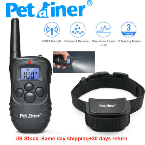 Petrainer 990ft Dog Shock Training Collar Rechargeable Remote Control Rainproof