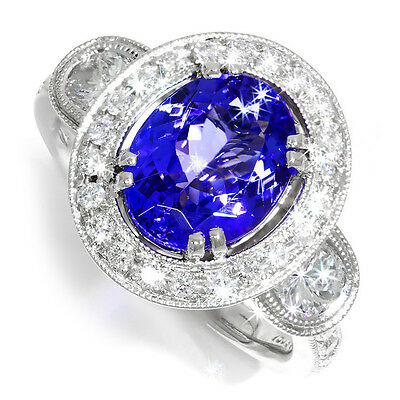 Ctw Diamond Tanzanite Gold Jewelry - Oval Tanzanite Halo Ring with Half Moon Diamond's in 18kt White Gold 3.80ctw