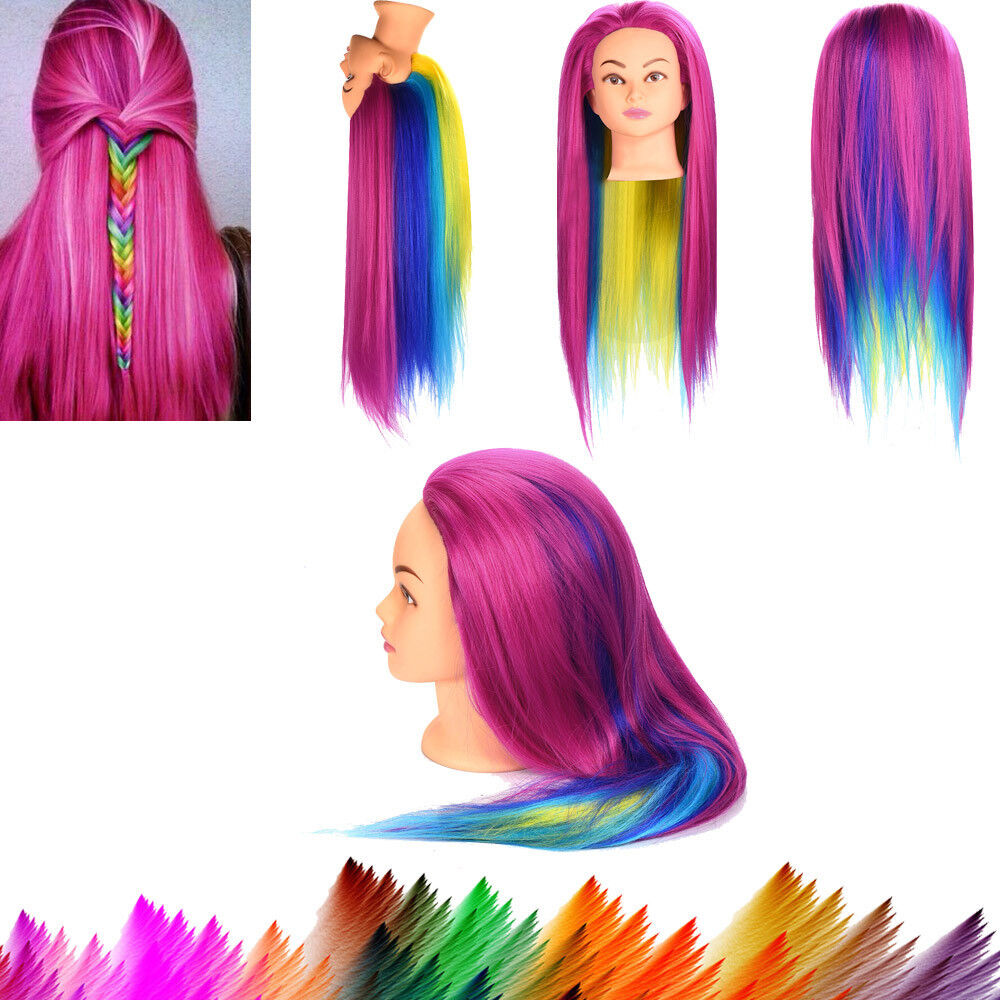 New Female Dummy Head Long Colorful Hair Hairdressing Training Head Model