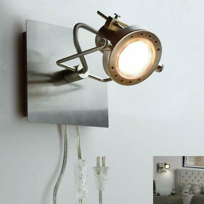Industrial Track Light Plug-in Adjustable Wall Fixture Spotlight Bedside Kitchen