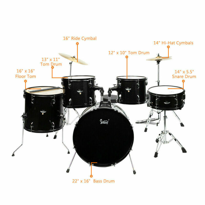 Glarry Full Size Adult Drum Set 5-Piece Black with Bass Drum 22in