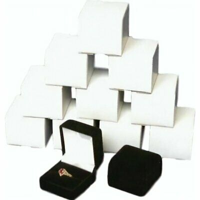 12 Black Velvet Flocked Ring Gift Boxes Jewelry Display