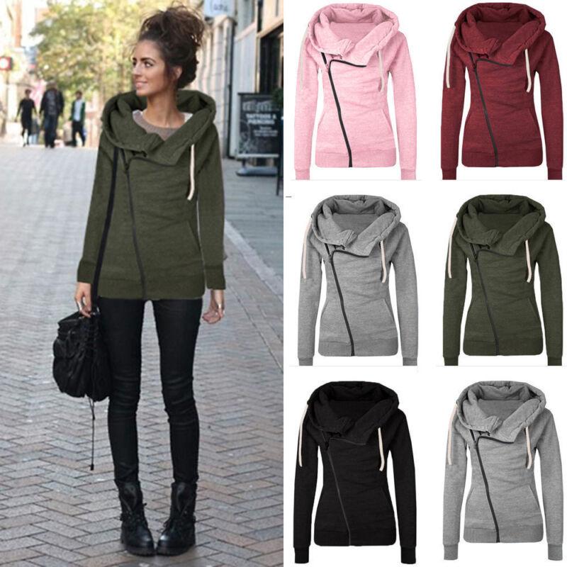 Winter Plain Zip Up Fleece Hoody Women Sweatshirt Coat Jacket Top Hoodies 4-14 8