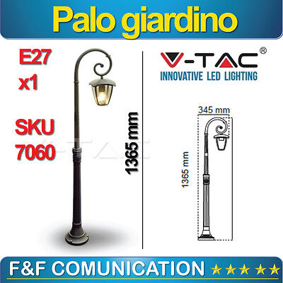 Lampione Led Pole Garden 140 cm Lantern Single Black Aluminium V-Tac E27