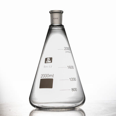 2000ml Pro Glass Erlenmeyer Flask Borosilicate Glass 3.3 Set Of 2440joints Top