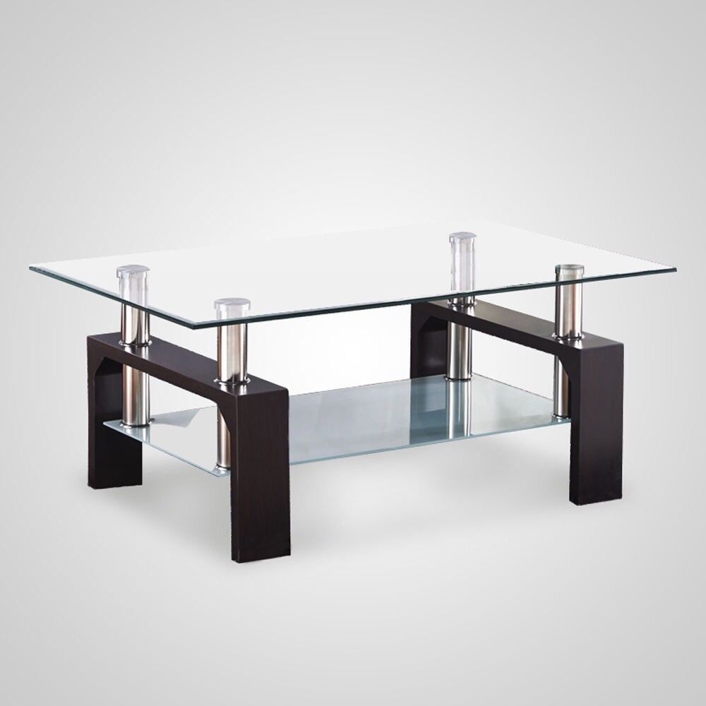 BRAND NEW BLACK MODERN RECTANGLE AND GLASS CHROME LIVING ROOM COFFEE TABLE