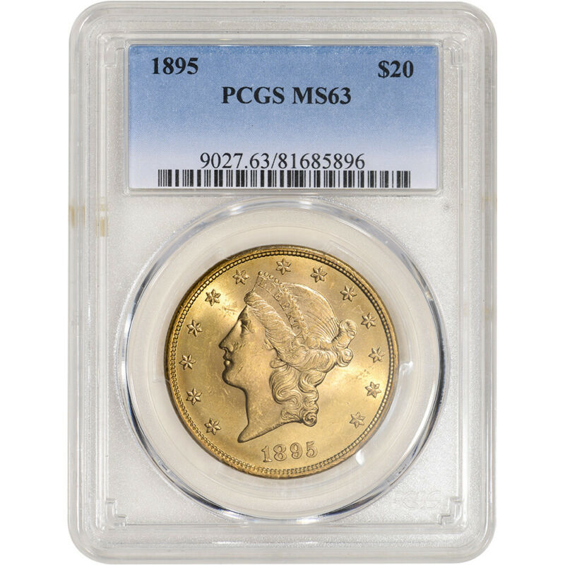 1895 US Gold $20 Liberty Head Double Eagle - PCGS MS63