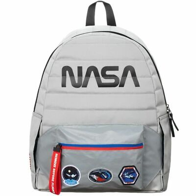 OFFICIAL NASA WORM LOGO GREY REFLECTIVE 2 IN 1 FANNY PACK AND BACKPACK BAG