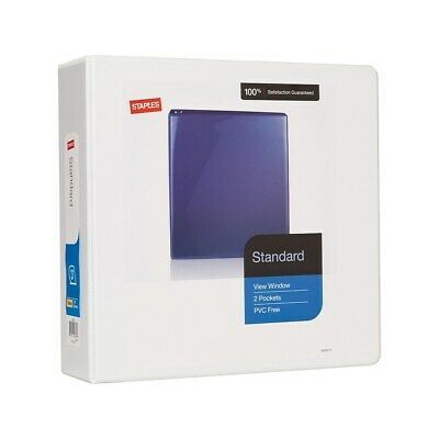 "Staples Standard 3"" 3-Ring View Binder White  82639"