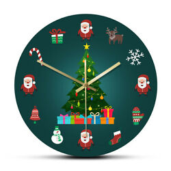 Christmas Tree Elements Holiday Non-Ticking Quartz Wall Clock New Year Watch