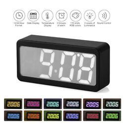 USB/Battery Powered Digital RGB LED Alarm Clock Time/Temperature/Date C6E7