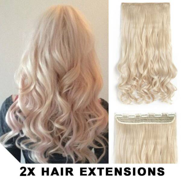 2pcs 22 Blonde Synthetic Wavy Hair Clip Extensions Accessories