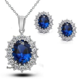 Blue Crystal Jewellery Set Pendant Necklace Earrings Faux Blue Sapphire Gift