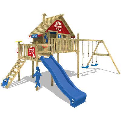 WICKEY Smart Bay Spielturm Garten Kletterturm Doppelschaukel Rutsche Stelzenhaus