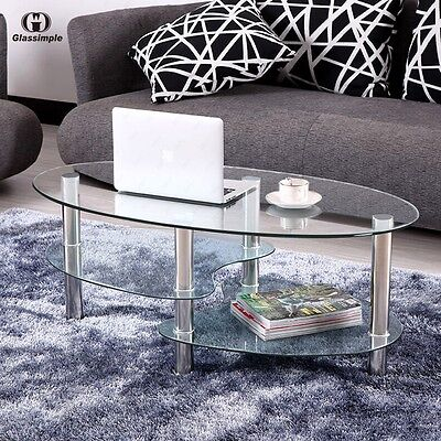 Unclouded Glass Oval Side Coffee Table Shelf Chrome Base Living Room Furniture