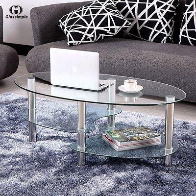 Clear Glass Ovate Side Coffee Table Shelf Chrome Base Living Room Furniture