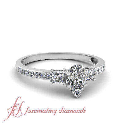 1.45 Ct Pear Shape F-Color Diamond Sleek Glitter Engagement Ring Channel Set GIA