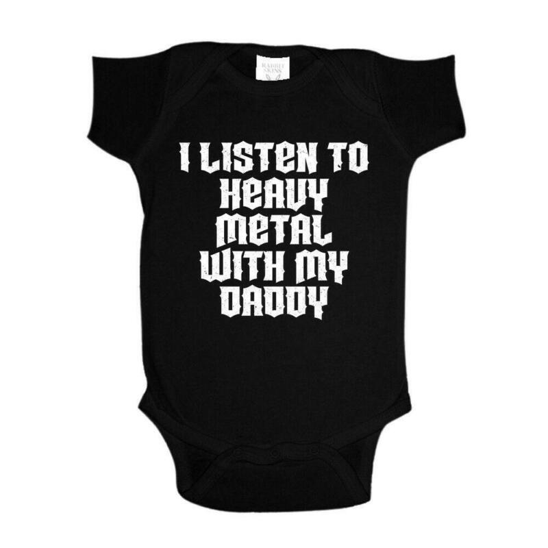 I Listen To Heavy Metal With My Daddy Baby Bodysuit