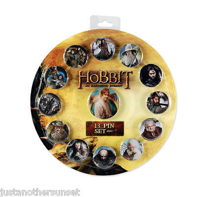 Hobbit Lord of the Rings 13 Pin Button Cast Set Bilbo Gandolf Party Favor NEW