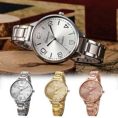 Fashion Women Analog Luxury Crystal Stainless Steel Quartz Wrist Watch Bracele