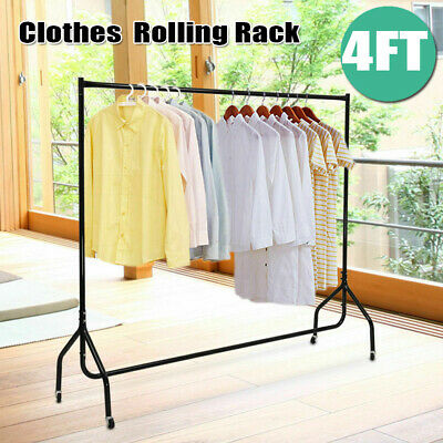 4ft Heavy Duty Commercial Clothes Rack Garment Rolling Rail Hanger Stand 55lbs