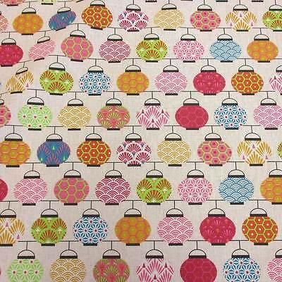 Stoff Baumwolle Japan Lampions rosa grün Chochin Meterware Seigaiha Asanoha