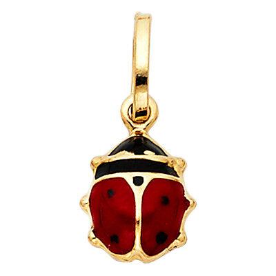 14K Solid Yellow Gold Enamel Ladybug Pendant - Red Black Polished Necklace Charm
