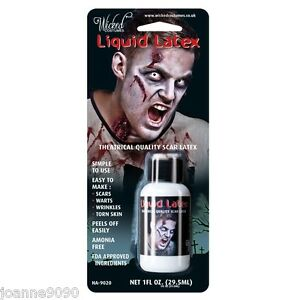LIQUID LATEX SPECIAL EFFECTS ZOMBIE FLESH SCARS SKIN ADHESIVE HALLOWEEN MAKE-UP