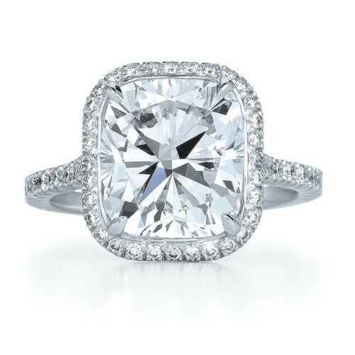 4.21 Carat 18k White Gold Cushion cut Diamond Engagement Ring GIA Certified